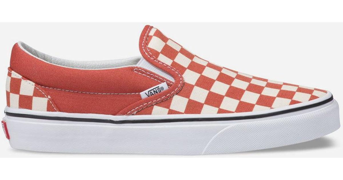 acc4f91f19 Lyst - Vans Checkerboard Classic Slip-on Hot Sauce   True White Womens Shoes  in White