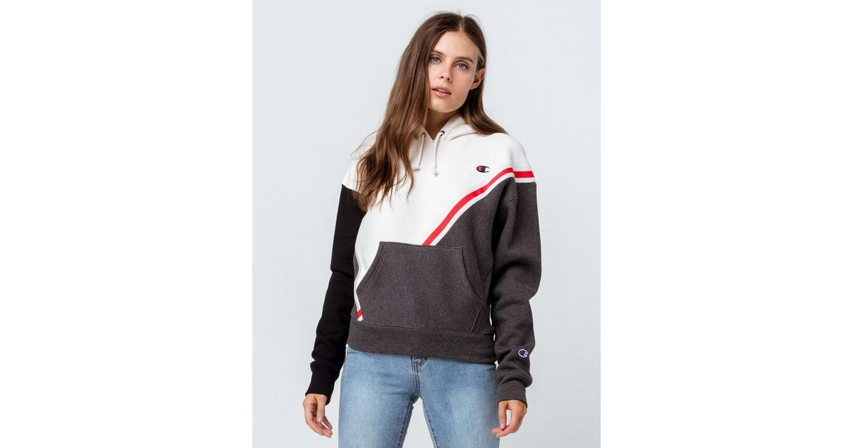 a56336c54b80 Lyst - Champion Reverse Weave Color Block White Womens Hoodie in White