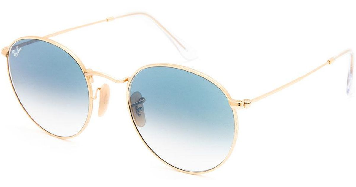 1dbfcbfc3 Ray-Ban Round Flat Lenses Light Blue Gradient & Gold Sunglasses in Blue -  Lyst