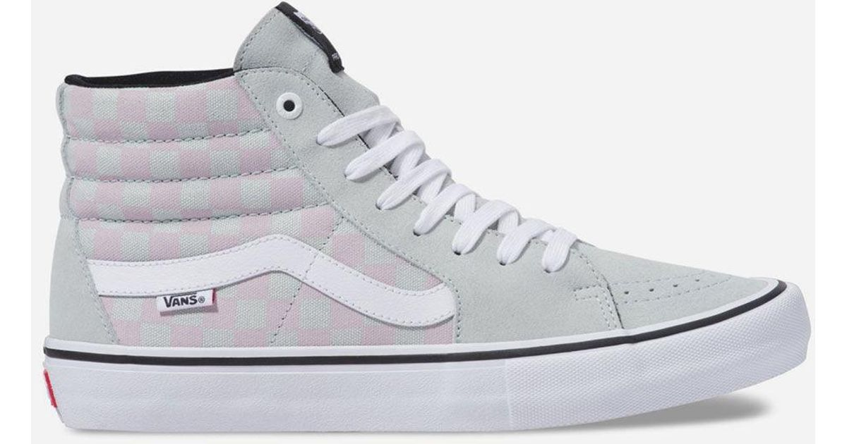 561e3a1c20627f Lyst - Vans Checkerboard Sk8-hi Pro Smoke   Violet Ice Shoes for Men