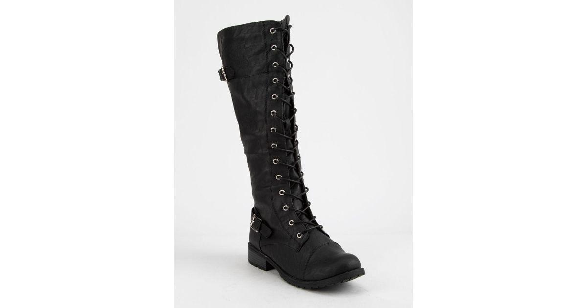 d4f9616b36d55 Wild Diva - Tall Lace Up Black Womens Combat Boots - Lyst