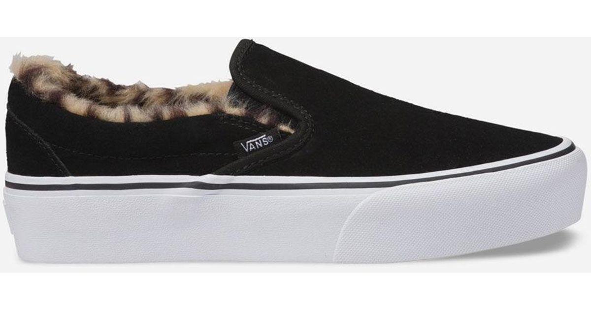 08cb281143 Lyst - Vans Suede Slip-on Platform Fur Black Womens Shoes in Black