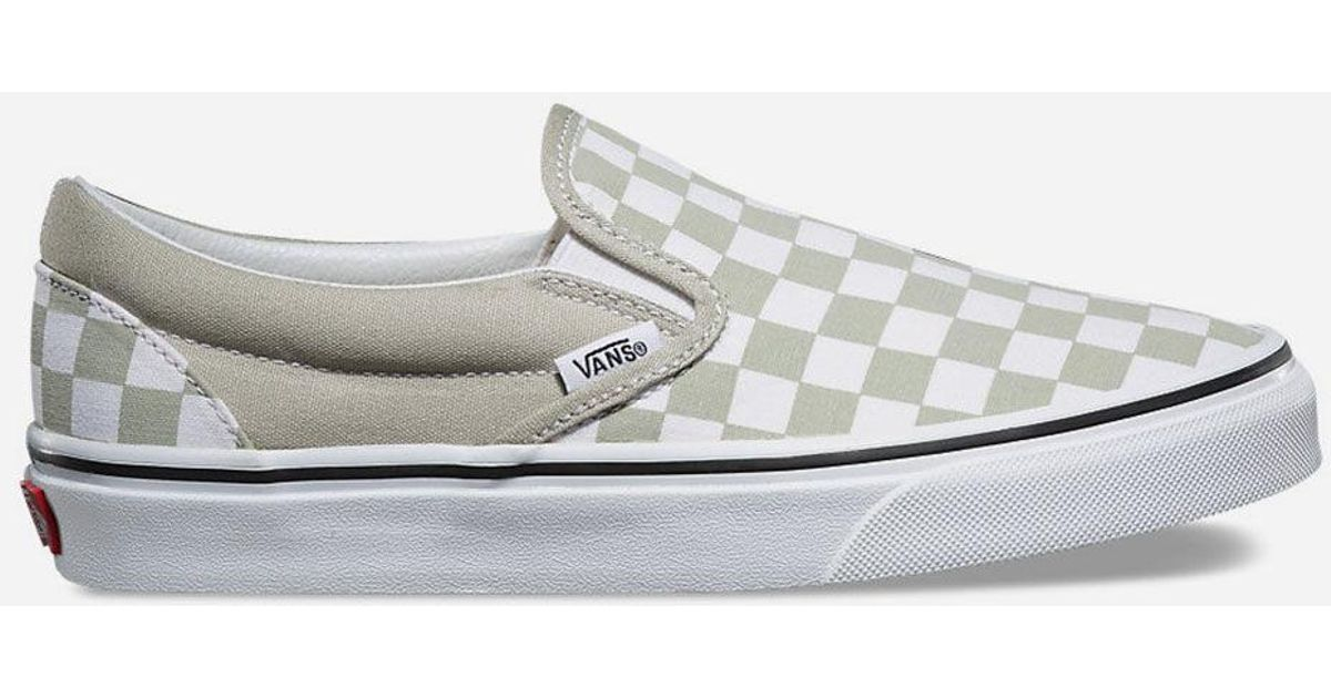 f91af7db13 Lyst - Vans Checkerboard Classic Slip-on Desert Sage Womens Shoes