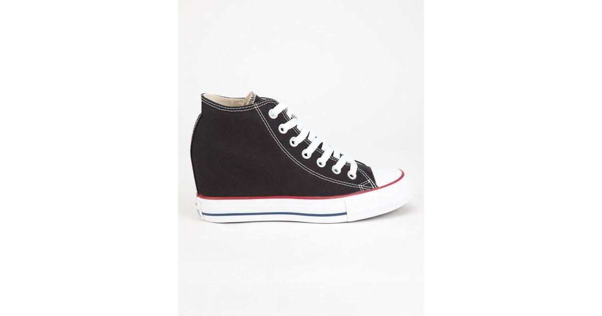 1b68457cb2e14e Lyst - Converse Chuck Taylor All Star Lux Mid Womens Shoes in Black