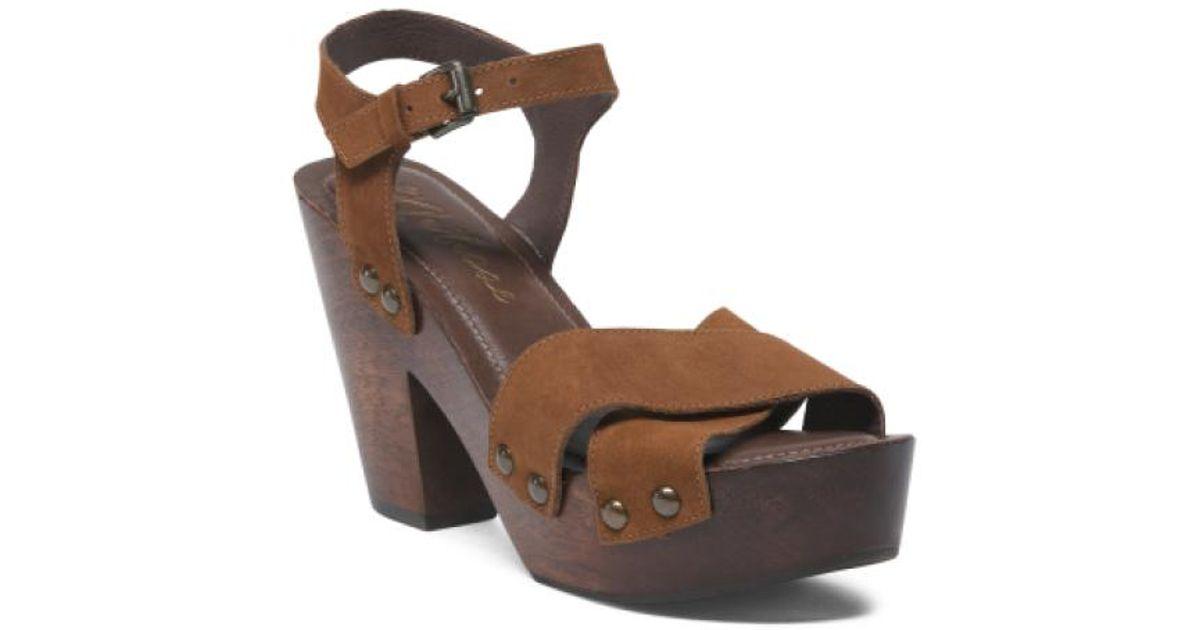 67efc7f648bb Lyst - Tj Maxx Made In Brazil Platform Leather Sandals in Brown