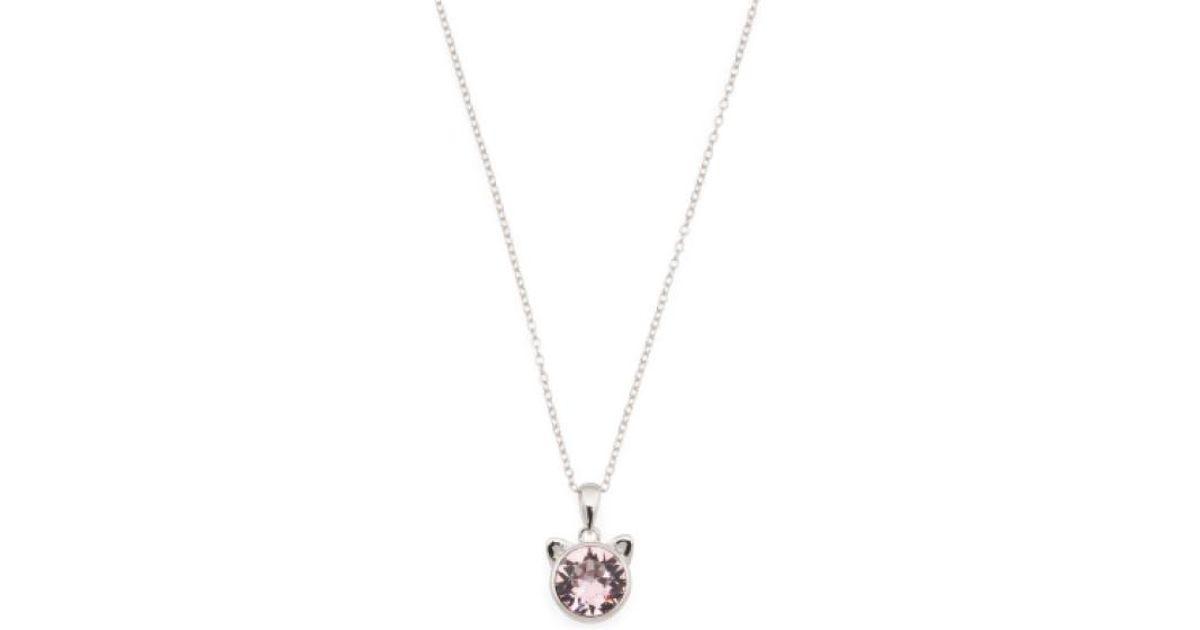 2163cd4d97d27 Tj Maxx Metallic Sterling Silver Swarovski Crystal Cat Ears Pendant Necklace