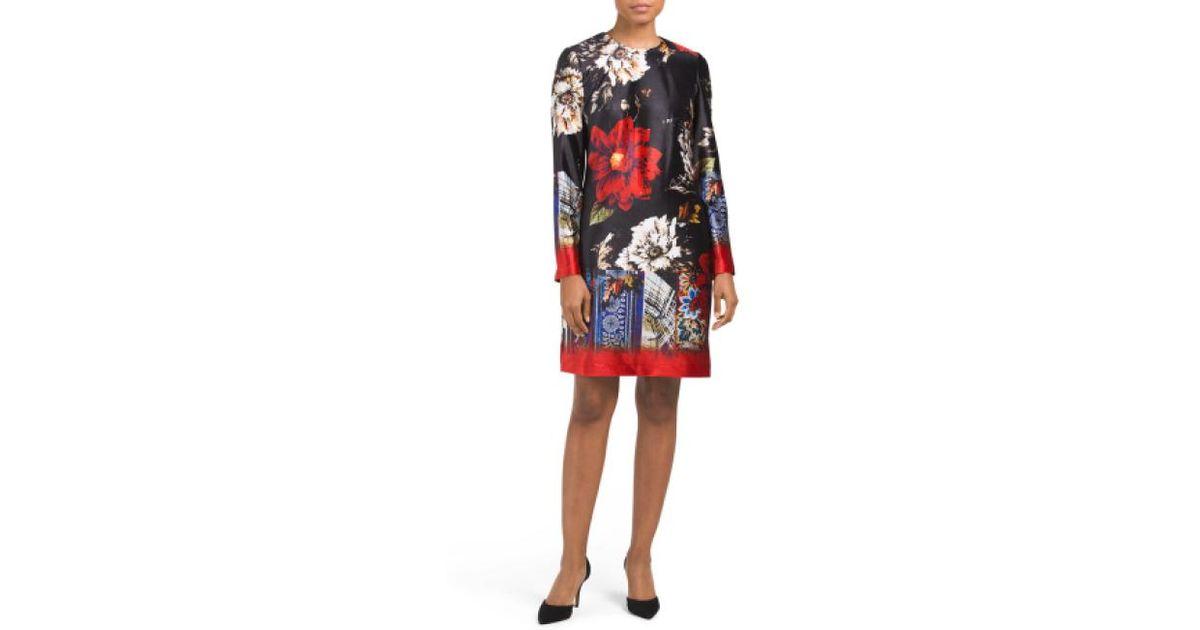 502674972dca Lyst - Tj Maxx Floral Print Shift Dress in Black