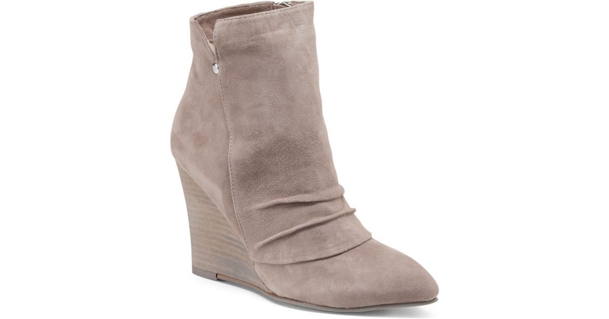 7d0420f5004f5b Lyst - Tj Maxx Pointed Toe Suede Wedge Booties in Gray
