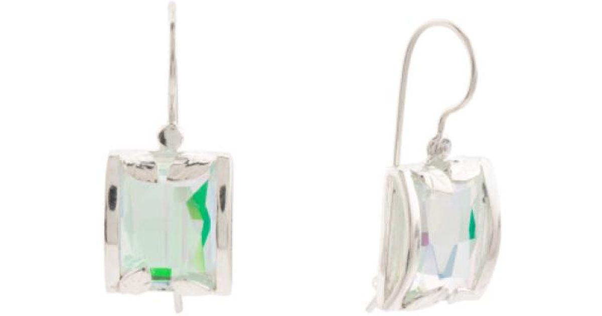 Lyst Tj Ma Made In Israel Sterling Silver Rainbow Quartz Earrings Metallic