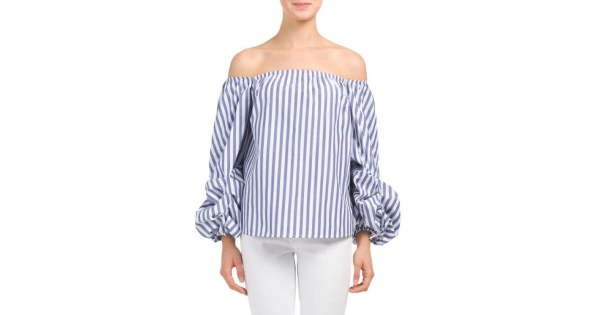 06460f58ac7 Tj Maxx Off The Shoulder Balloon Sleeve Top in Blue - Lyst