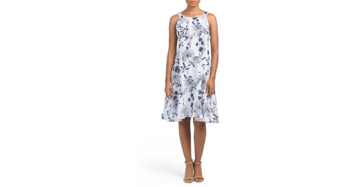 f9f377cca4569 Lyst - Tj Maxx Made In Italy Linen Halter Neck Dress in Blue