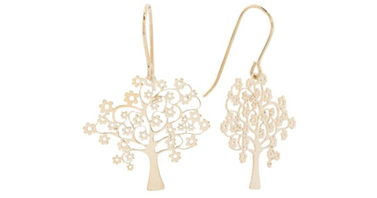 Tj Ma Metallic Made In Italy 14k Gold Tree Of Life Earrings
