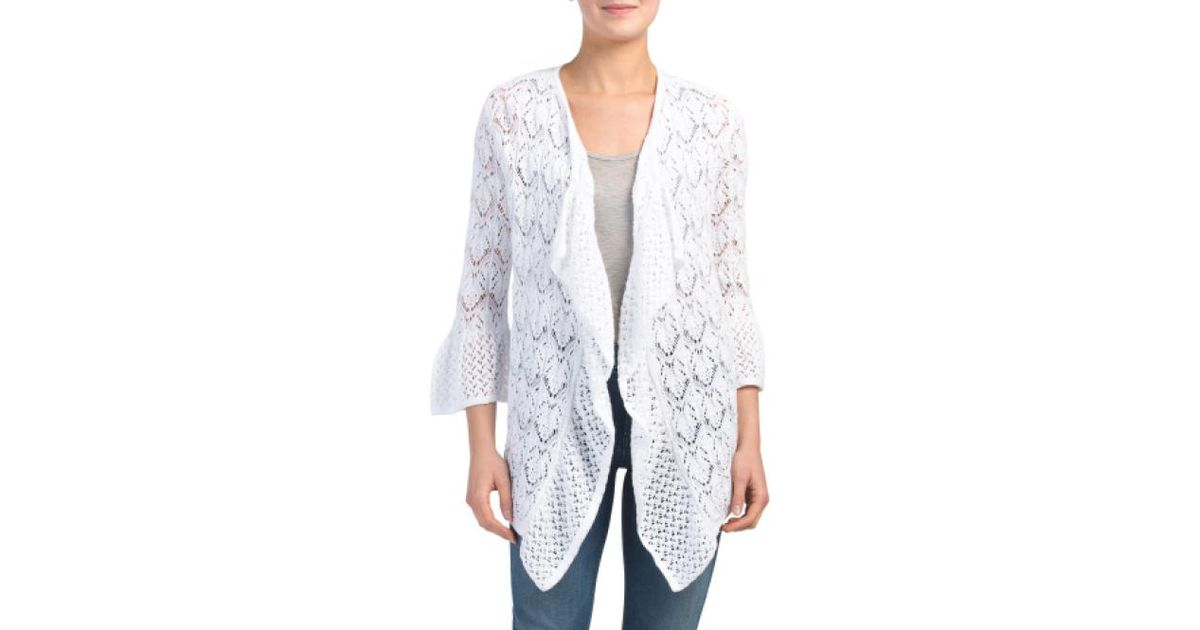 8593835e3 Lyst - Tj Maxx Open Stitch Cardigan Sweater in White