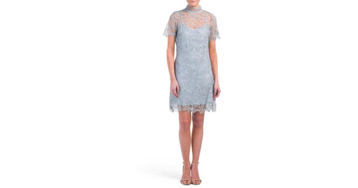 edb26ca45352 Lyst - Tj Maxx Lace Overlay Tie Neck Dress in Blue