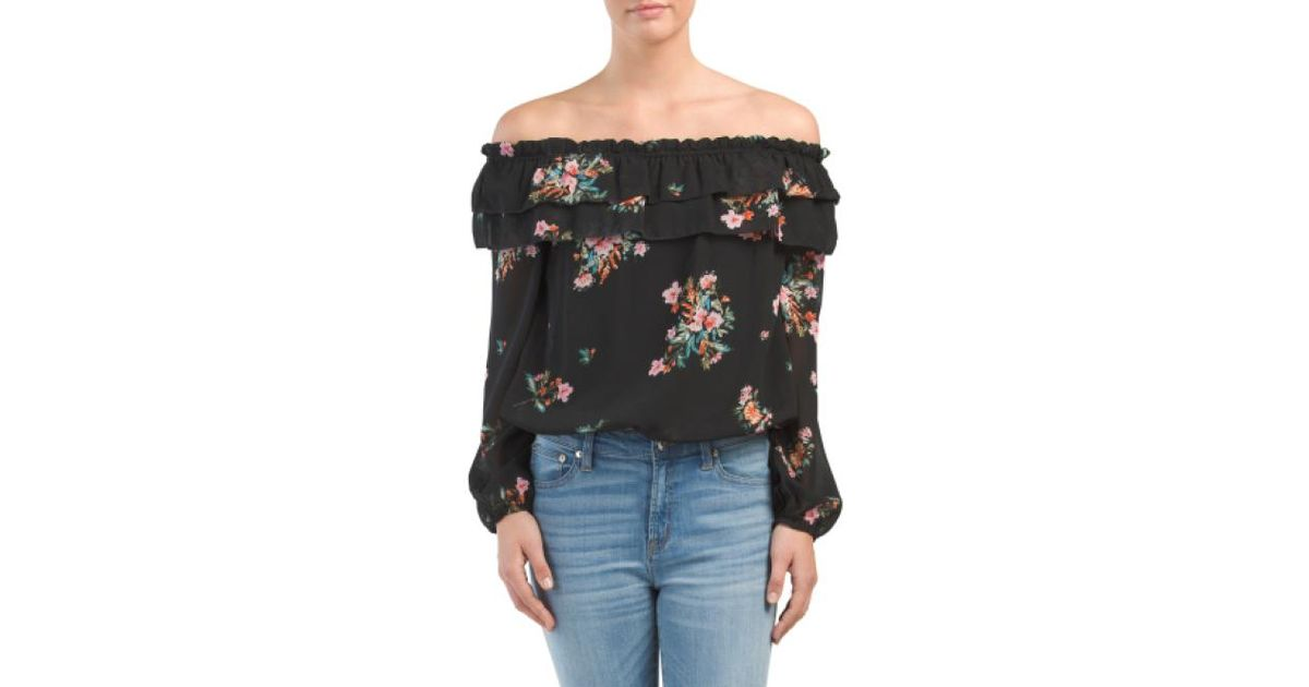 9c2eefe7dc252 Tj Maxx Petite Double Ruffle Floral Blouse in Black - Lyst