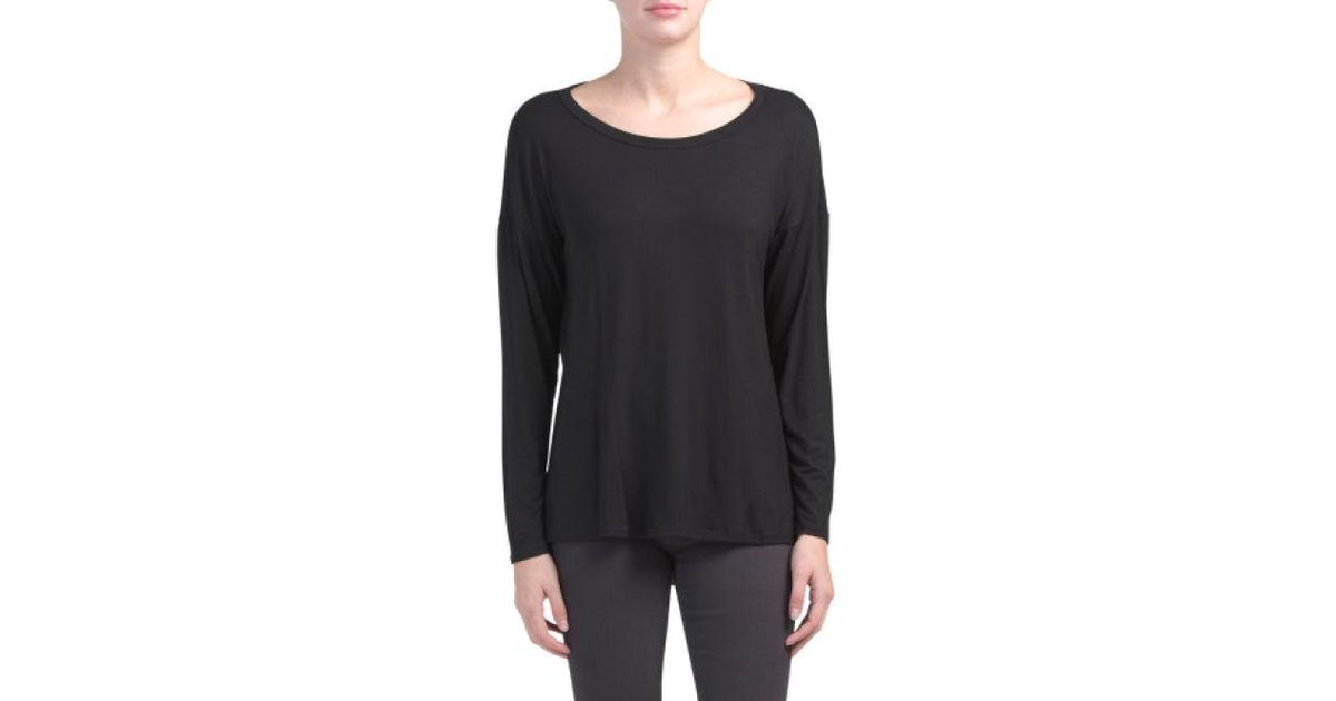 f1a8a77ec07f Lyst - Tj Maxx Made In Usa Drape Back Long Sleeve Knit Top in Black
