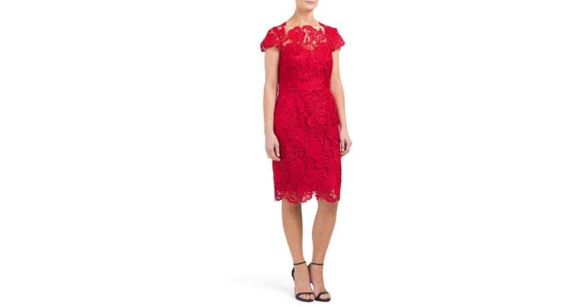 24094f9530cd Lyst - Tj Maxx Lace Cocktail Dress in Red