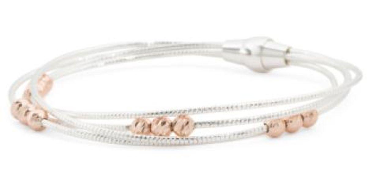 Lyst Tj Ma Made In Italy Sterling Silver Diamond Cut Bead Bracelet Metallic