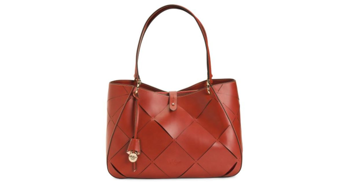 3b5ea38a299 Lyst - Tj Maxx Made In Italy Leather Tote in Red