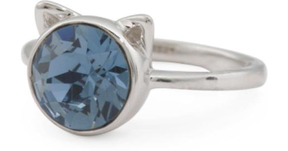 98d2743bbe14e Tj Maxx Blue Sterling Silver Swarovski Crystal Cat Ears Ring