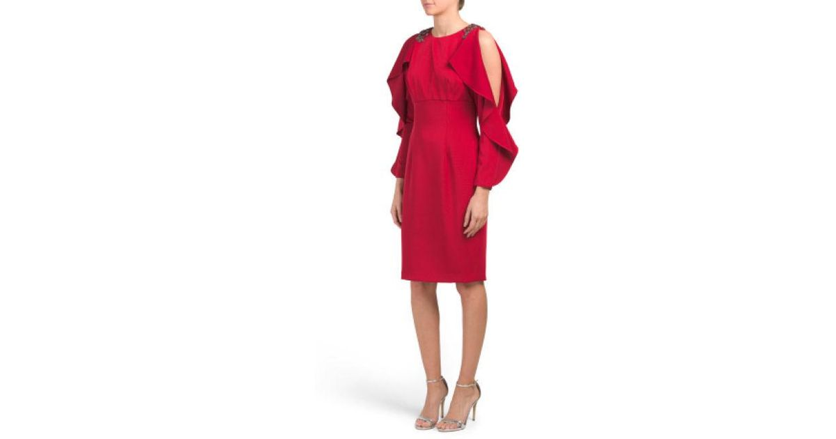 05513b4129e2 Lyst - Tj Maxx Beaded Ruffle Cocktail Dress in Red