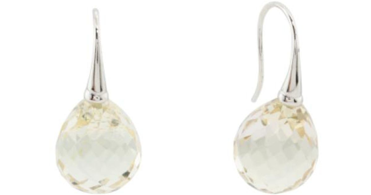 Lyst Tj Ma Made In Thailand Sterling Silver Cubic Zirconia Drop Earrings Yellow
