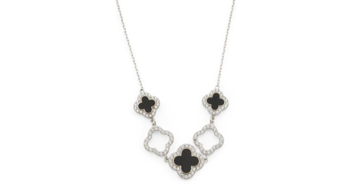 cd8645f434a54 Tj Maxx Metallic Made In Usa Sterling Silver Cz And Onyx Quatrefoil Necklace