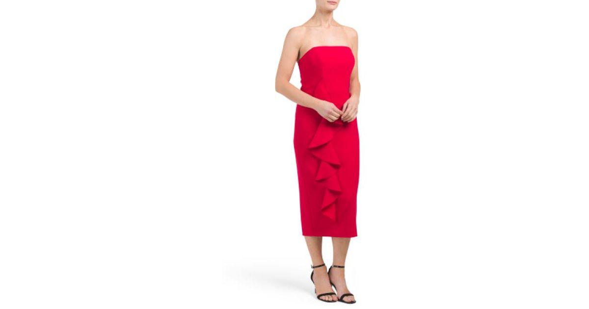 069e8c1c01a9b Lyst - Tj Maxx Berlin Cascading Ruffle Midi Dress in Red