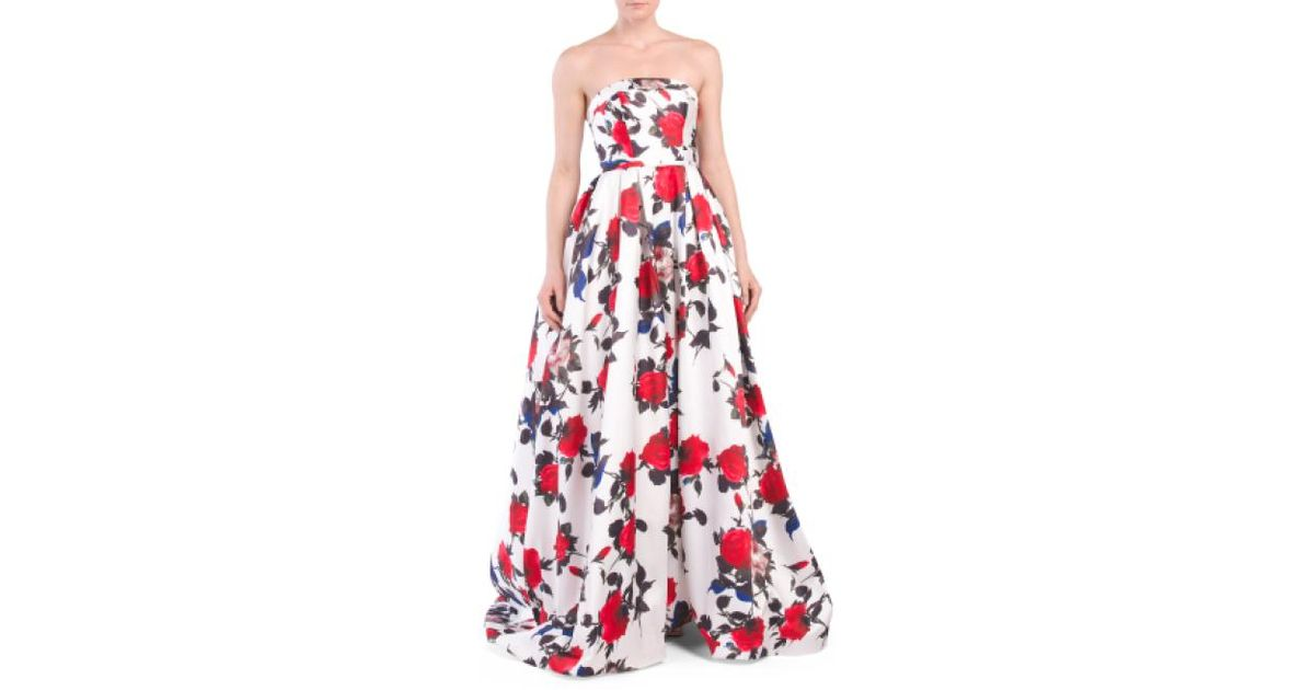4469b4224fe2 Lyst - Tj Maxx Strapless Floral Gown in Red