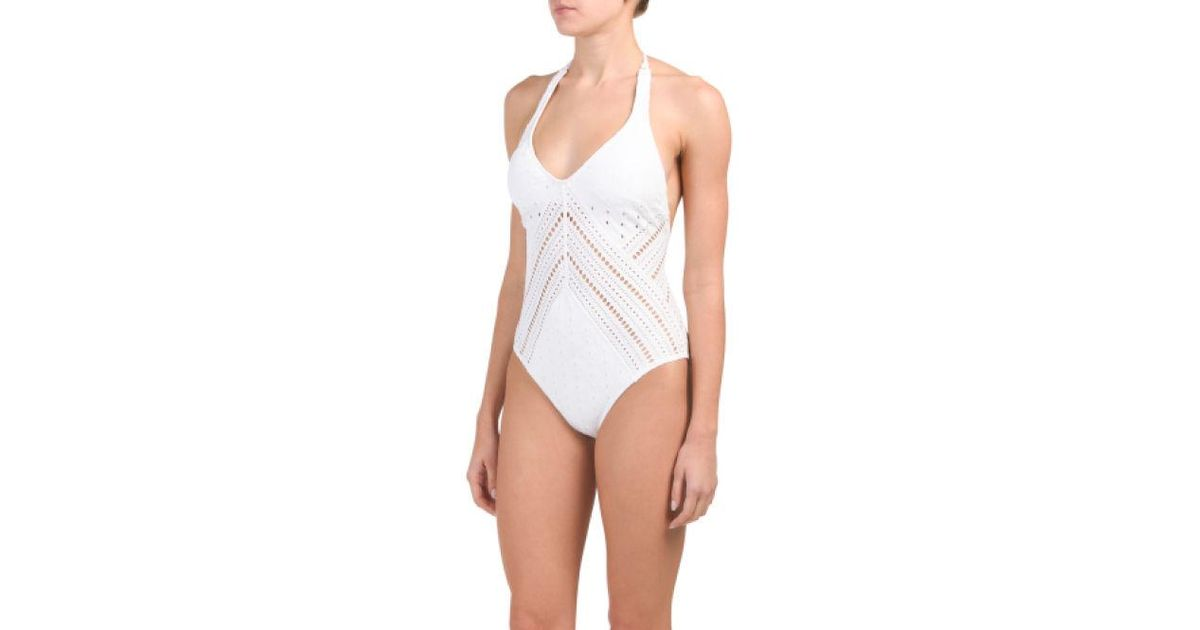 98f2f156ae Lyst - Tj Maxx Clarissa 1pc Plunging V Neck Swimsuit in White