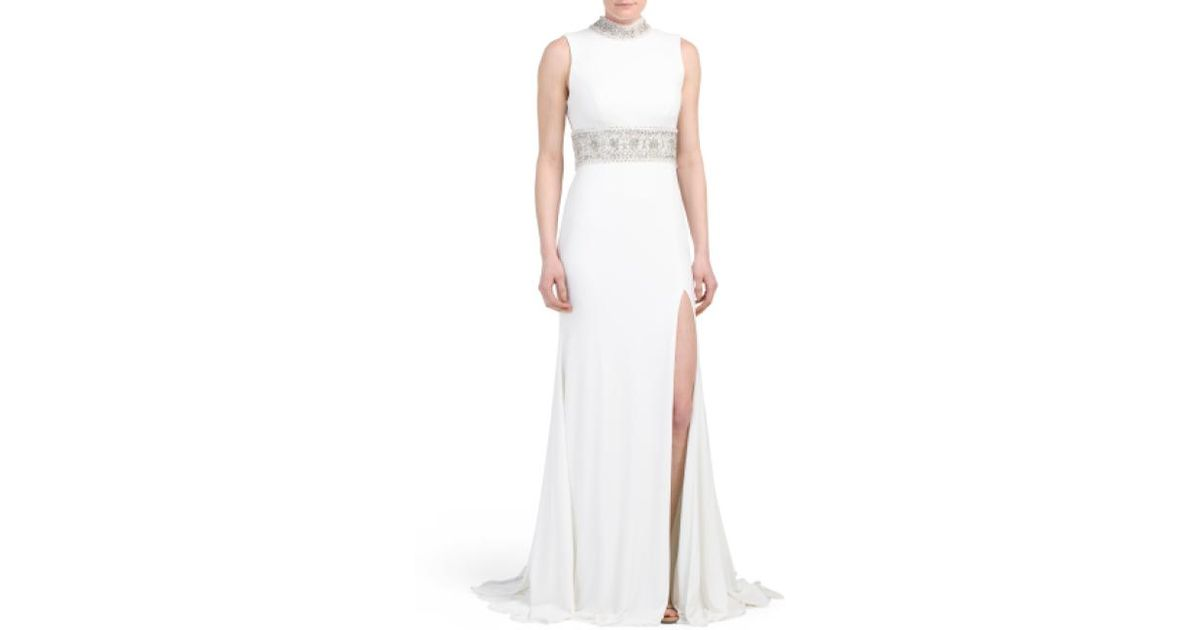4155896c01b Lyst - Tj Maxx Long Gown With Slit   Beading in White