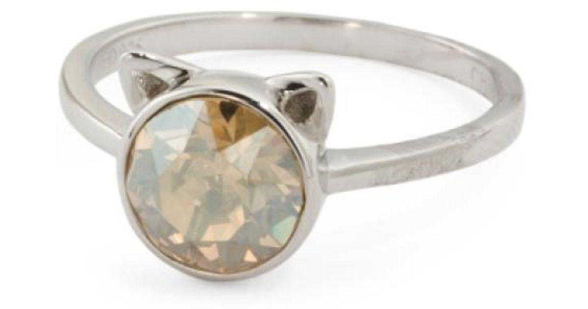 8ca245521fa99 Tj Maxx Metallic Sterling Silver Swarovski Crystal Cat Ears Ring