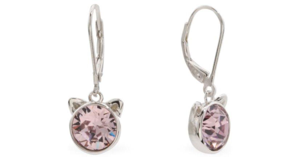 c6a2841885af1 Tj Maxx Metallic Sterling Silver Swarovski Crystal Cat Ears Earrings