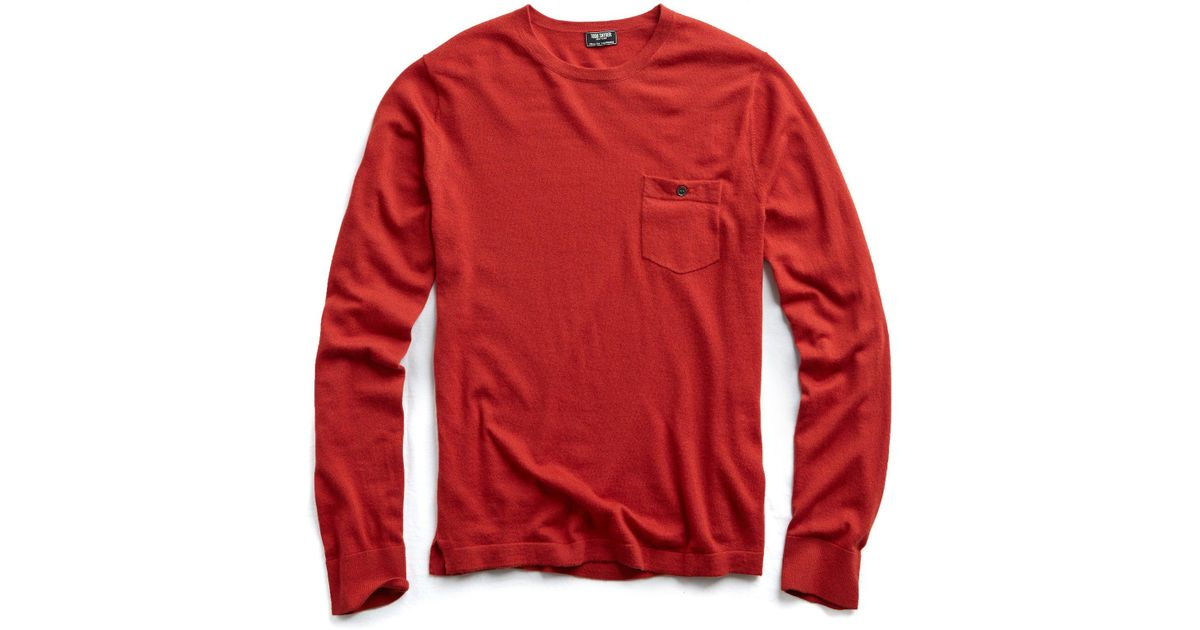 75528267ab854e Todd Snyder Cashmere T-shirt Sweater In Burnt Orange in Red for Men - Lyst