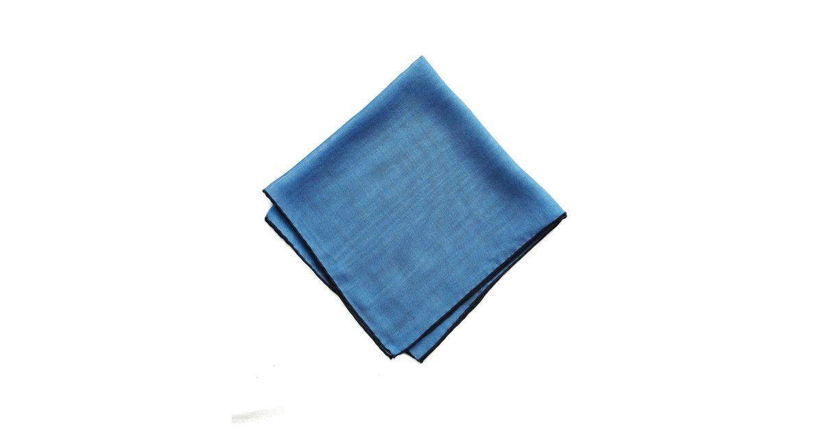 e1d0d1e31f538 Lyst - Drake's Blue Solid Wool And Silk Pocket Square With Shoestring Border  in Blue for Men