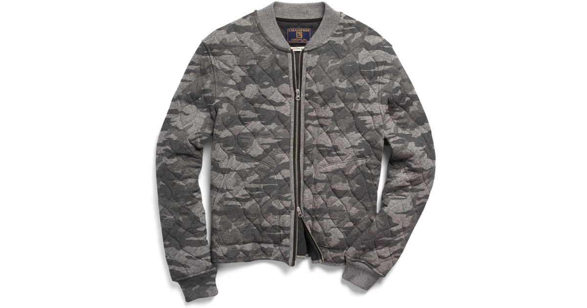 c18f979b857dc Todd Snyder Quilted Bomber In Camo in Gray for Men - Lyst