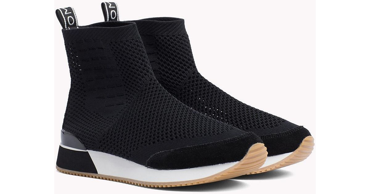 Tommy Hilfiger Leather Knitted High Top