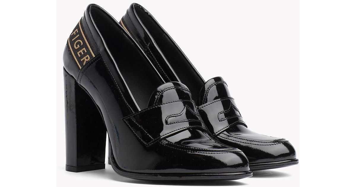 93e81a49d Tommy Hilfiger Iconic Patent Leather High Heel Loafers in Black - Lyst