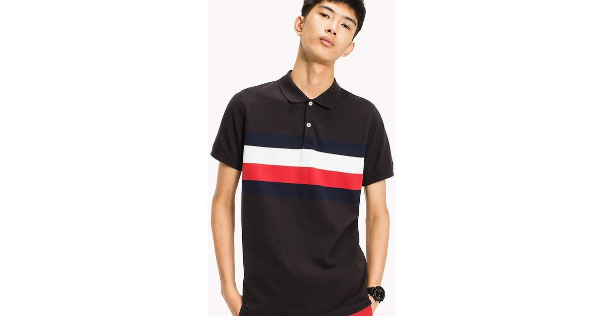 c5f1e1c2a Tommy Hilfiger Chest Stripe Slim Fit Polo Shirt in Black for Men - Lyst