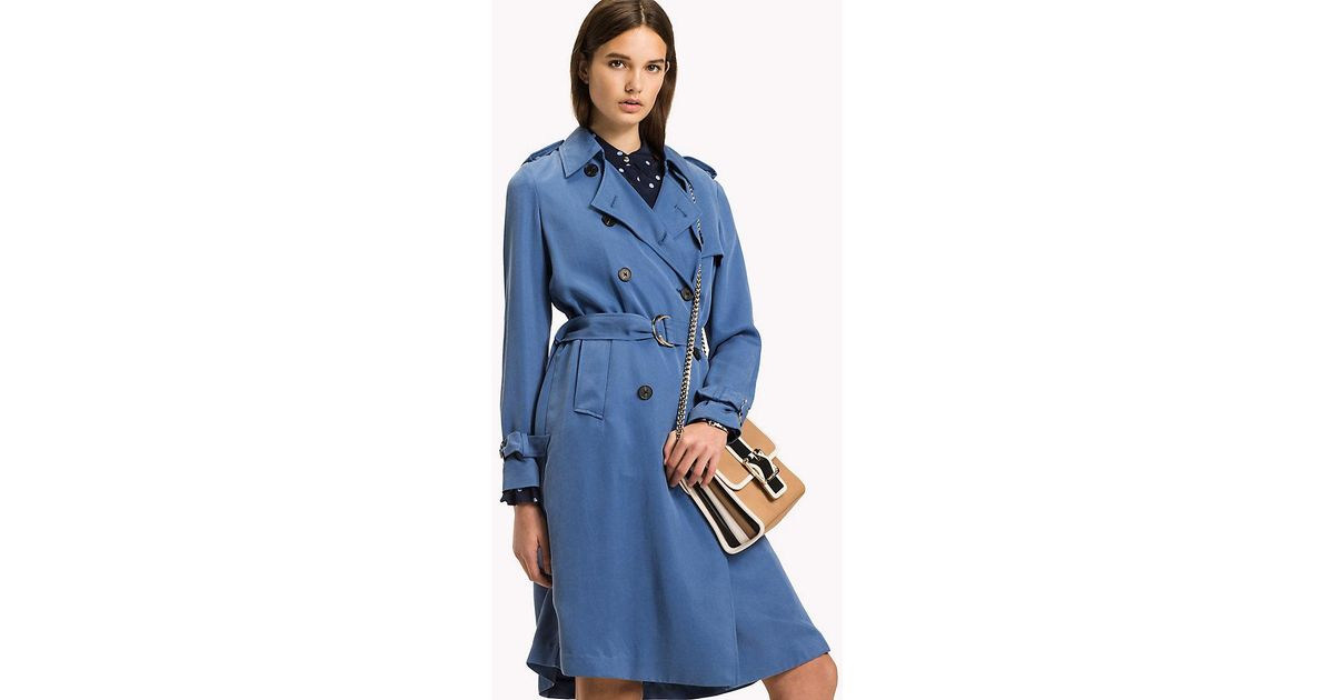 adc2486b4a4 Tommy Hilfiger Comfort Fit Trench Coat in Blue - Lyst
