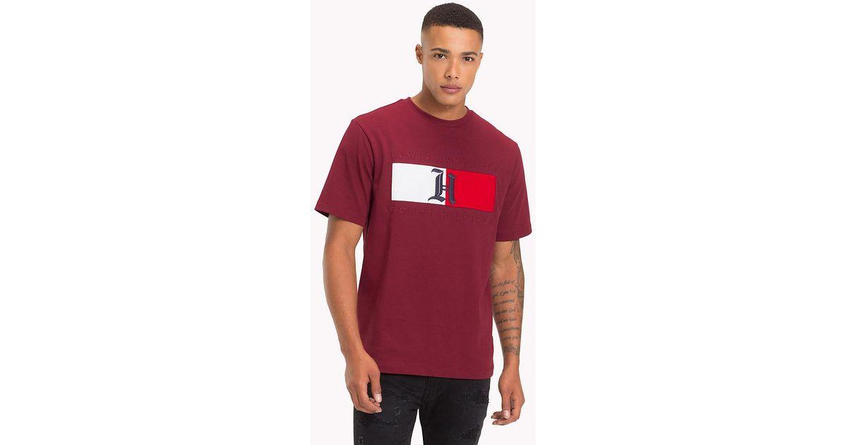 Tommy Hilfiger Black Lewis Hamilton Monogram T shirt for men