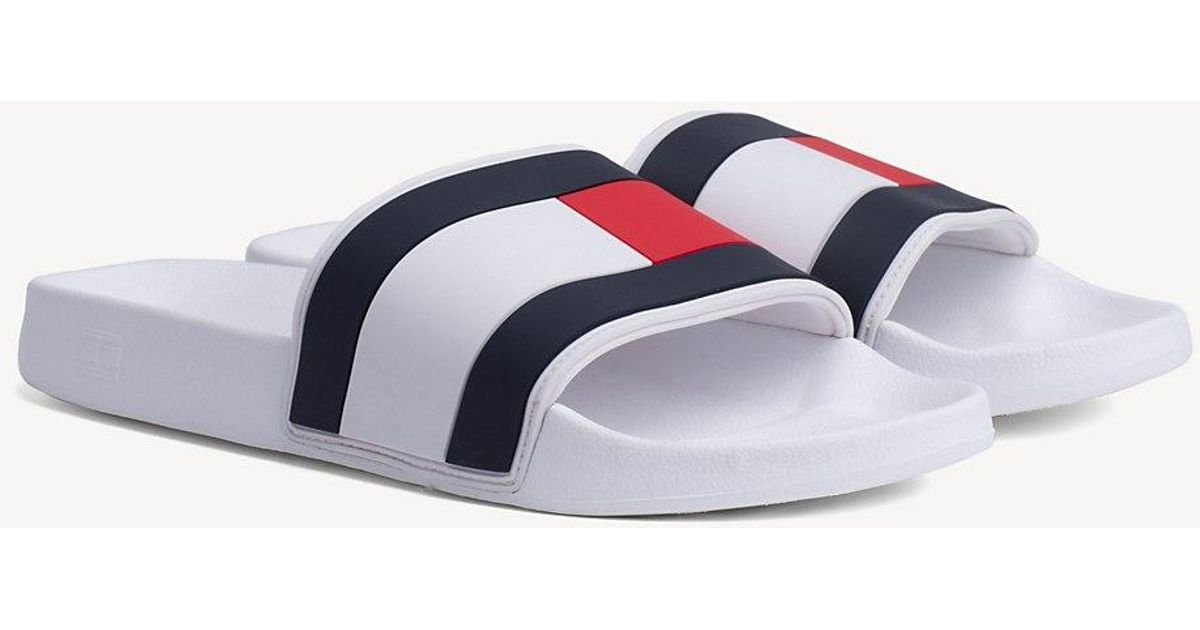 048010542 Tommy Hilfiger Essential Flag Pool Sandals in White for Men - Save 3% - Lyst