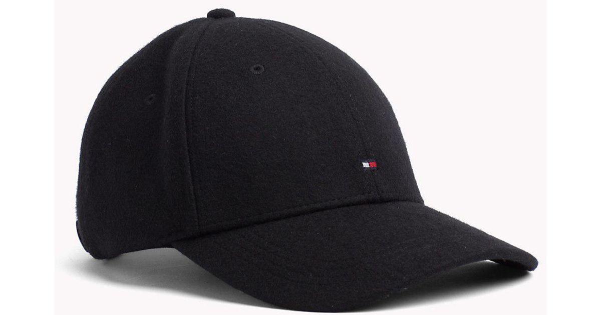 62cf891b6cd Tommy Hilfiger Melton Wool Baseball Cap in Black for Men - Lyst