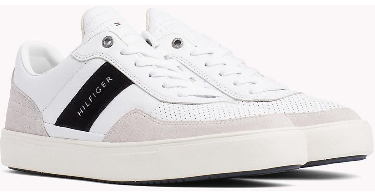 Tommy Hilfiger White Leather Mix Low cut Trainers for men