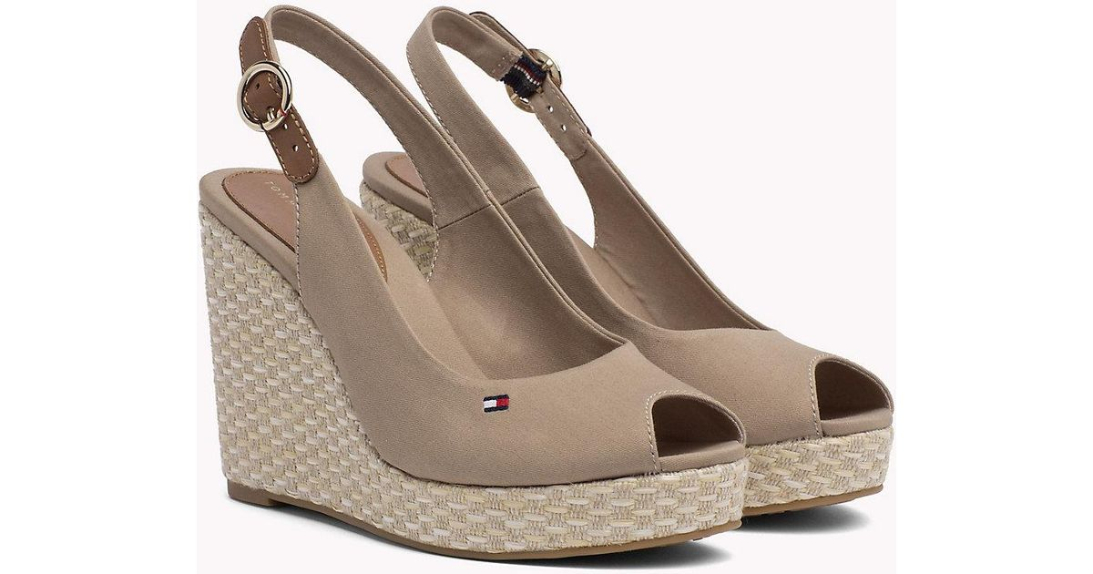 96be39532 Tommy Hilfiger Iconic Slingback Espadrille Wedge Sandals - Lyst