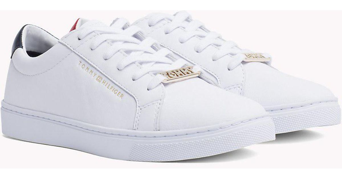 20053dc67969a9 Tommy Hilfiger Metallic Back Lace-up Trainers - Lyst