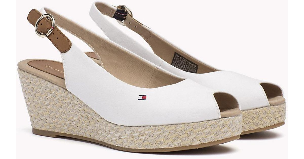 e6f031c2e Tommy Hilfiger Slingback Wedge Heel Sandals in White - Lyst