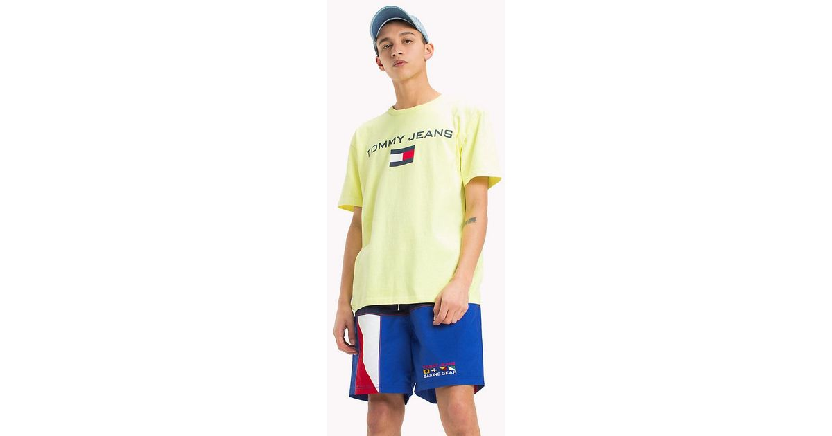 e43691e0 Tommy Hilfiger 90s Flag Logo T-shirt in Yellow for Men - Lyst