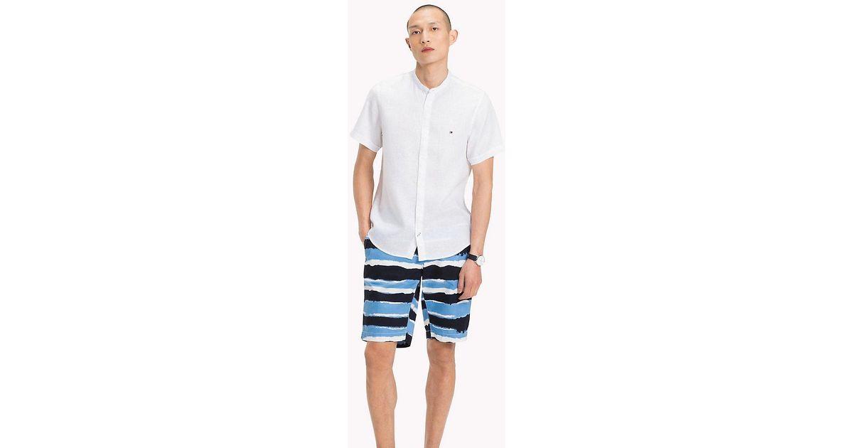 e4589033356e3c Tommy Hilfiger Mandarin Collar Short Sleeve Linen Shirt in White for Men -  Lyst
