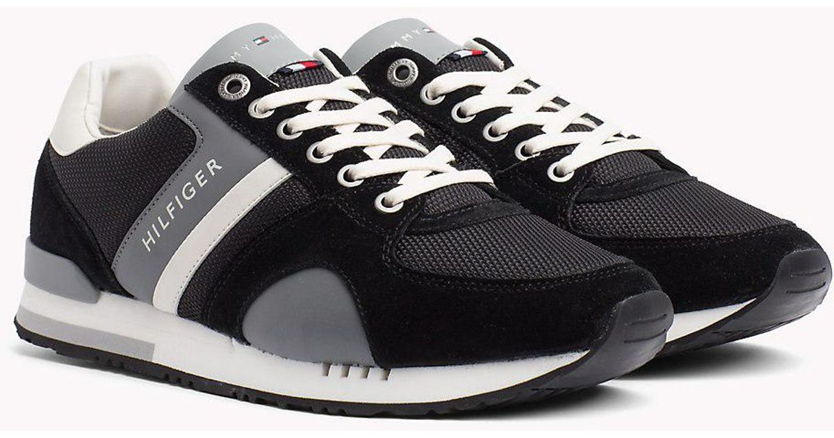41af9575836e02 Tommy Hilfiger Colour-blocked Material Mix Trainers in Black for Men - Lyst